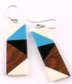 Rectangle Color-Block Earrings in Blue/White/Wood Combo