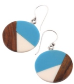 Small Circle Earrings in Blue/White/Wood Combo