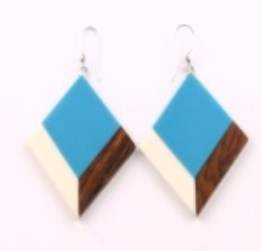 Diamond Shaped Earrings in Blue/White/Wood Combo