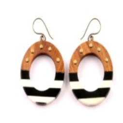 Studded Hollow Middle Striped Circle Earrings