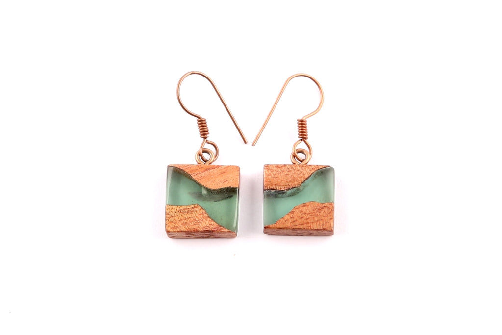 Square Green Resin/Wood Earrings