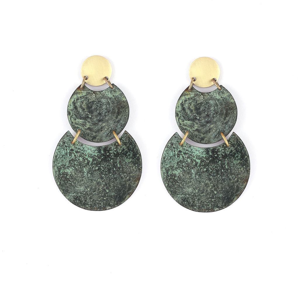 Three Tier Drop Earrings in Patina & Gold