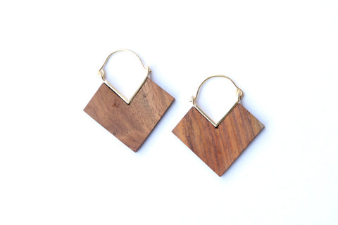 Small Wood Drop Earrings