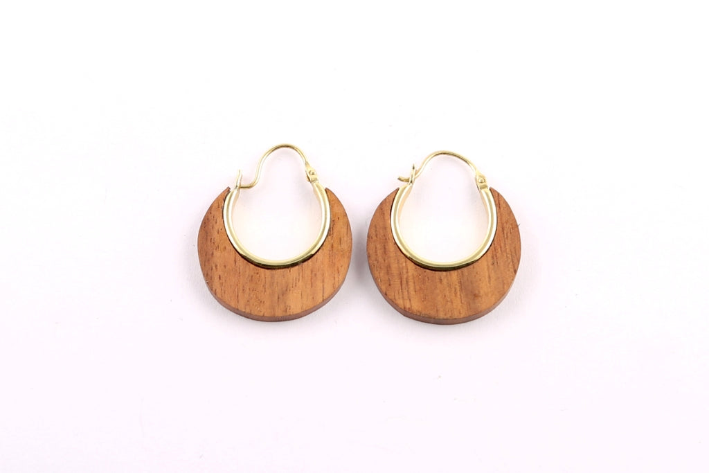 Small Wood Crescent Shape Earrings