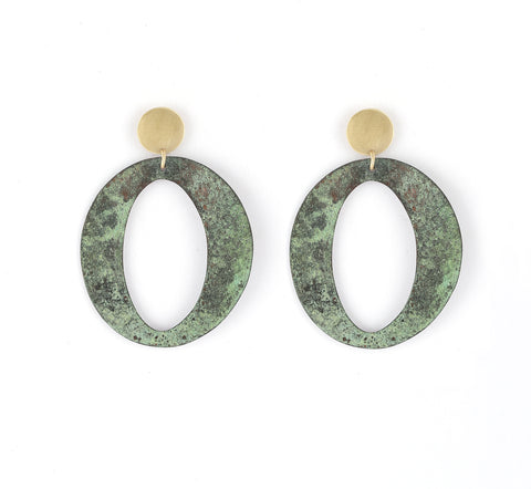 Oval Drop Earrings in Patina & Gold