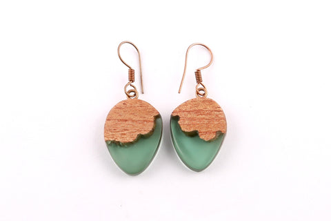 Green Resin Acorn Shape Earrings