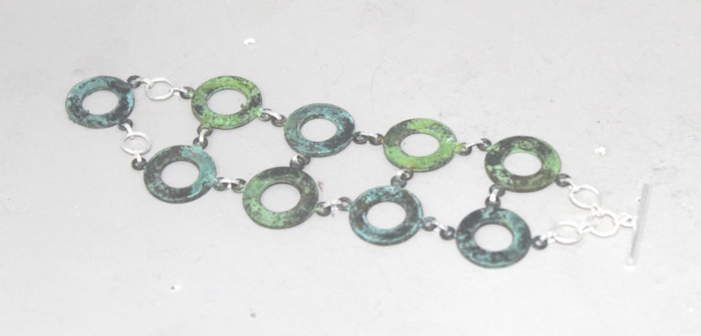 Circle Link Bracelet in Patina & Silver