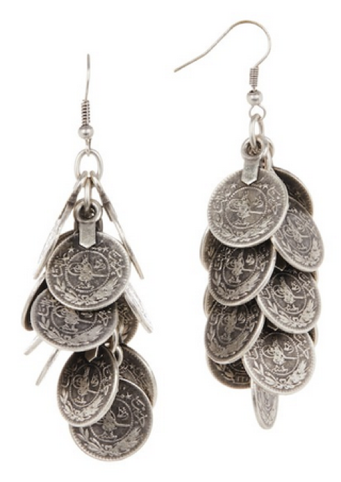 Pewter Coin Dangle Earrings