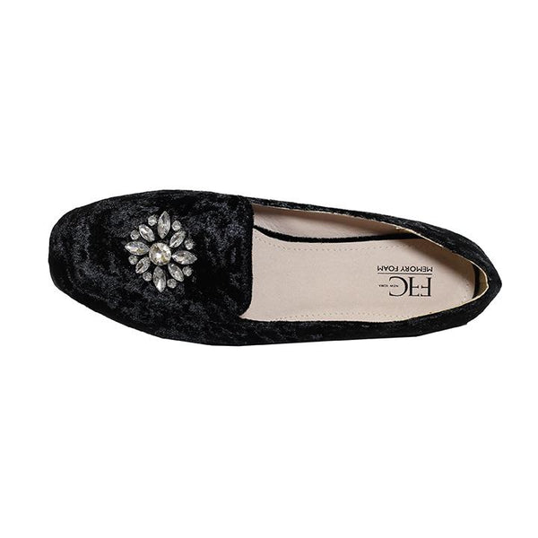 CINDY Jeweled Black Crushed Velvet