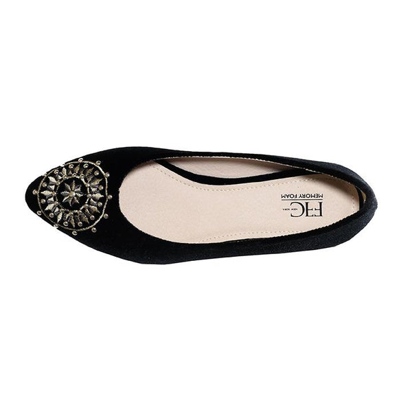 DAISY Black Velvet Embroidered Flats