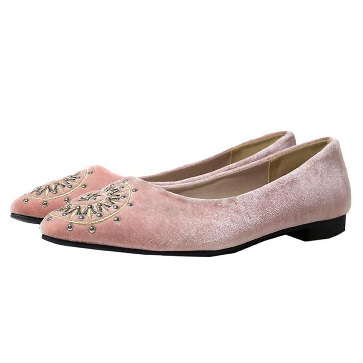 DAISY Blush Velvet Embroidered Flats