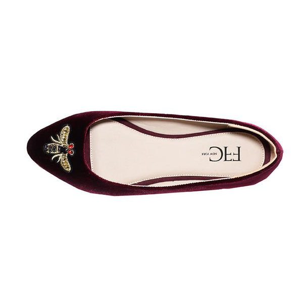 MIA Burgundy Velvet Flats with Bee