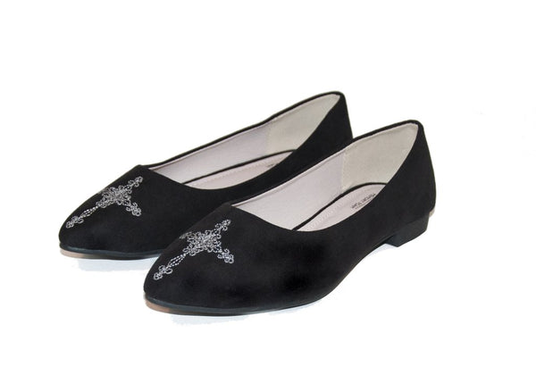CHRIS Black Embroidery Flats