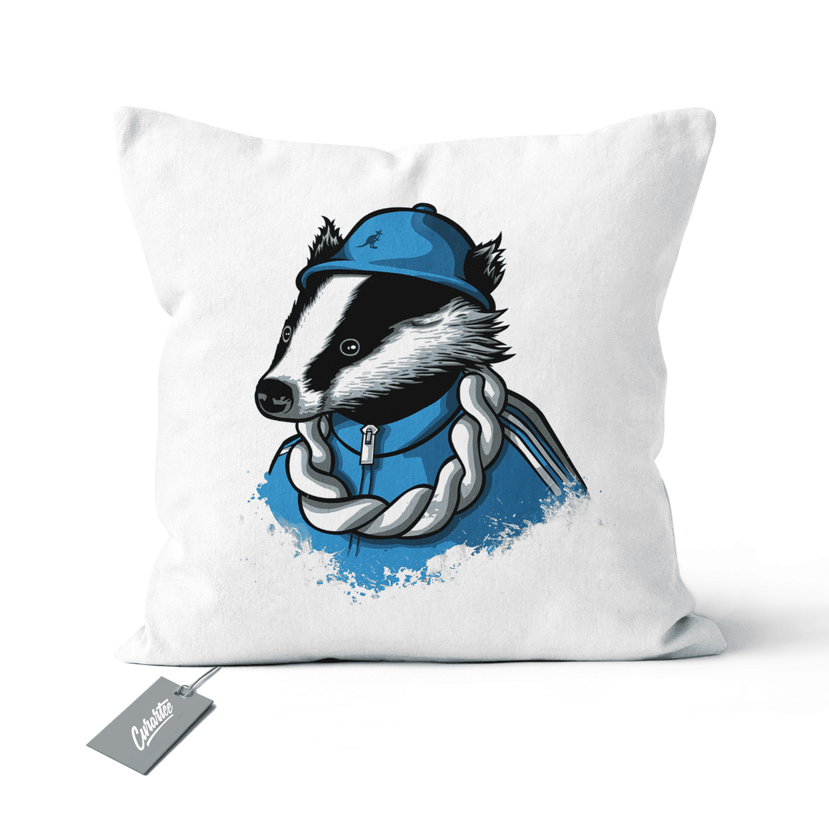 B-Boy Badger Cushion - Premium Artwear Curartee