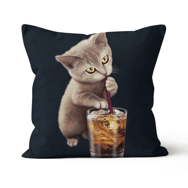 Cat Loves Soft Drink Premium Throw Cushion / Pillow