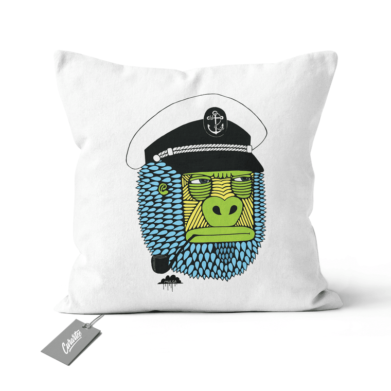 Captain Gorilla Cushion - Premium Artwear Curartee