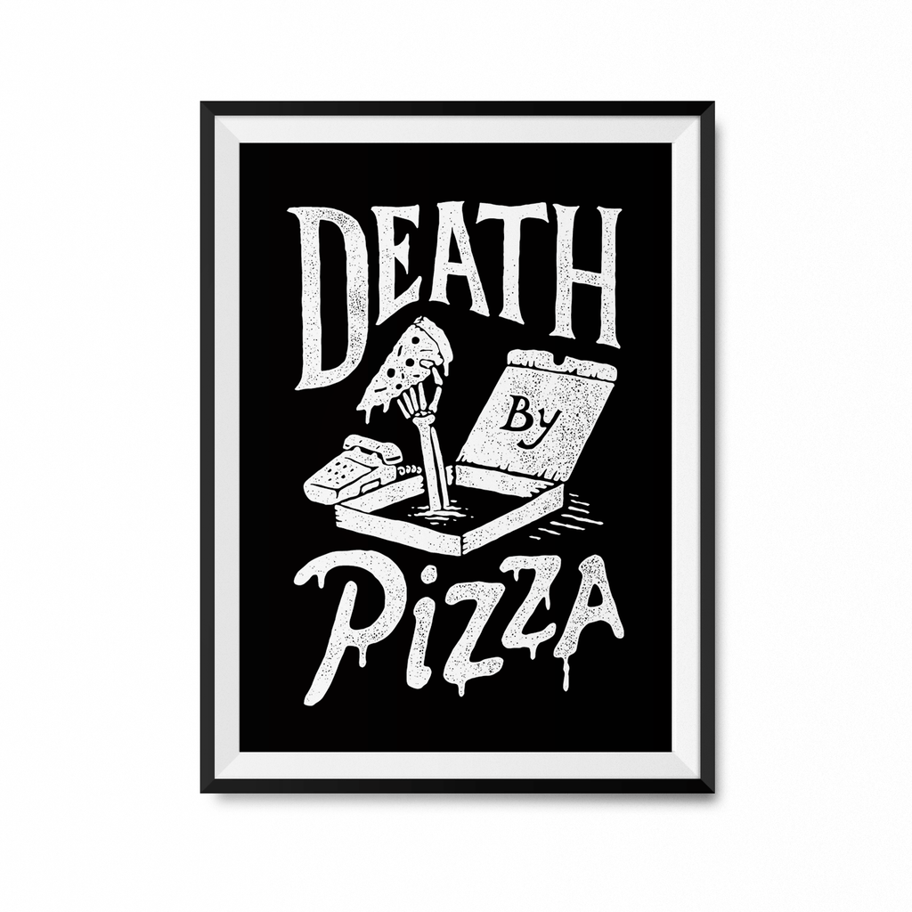 Death by Pizza Art Print-Curartee