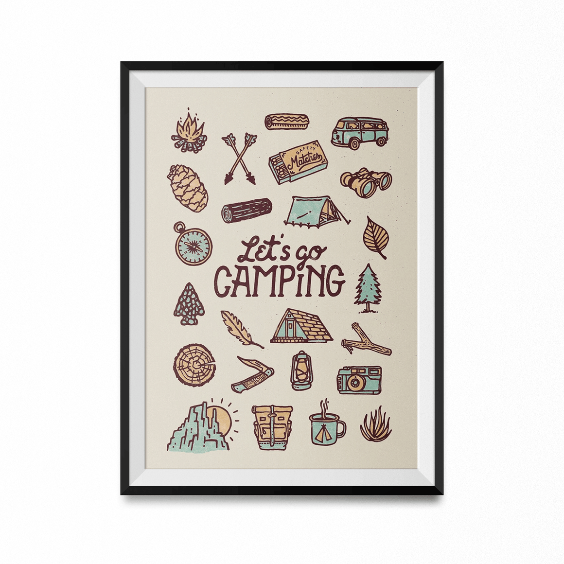 Let's Go Camping Art Print-Curartee