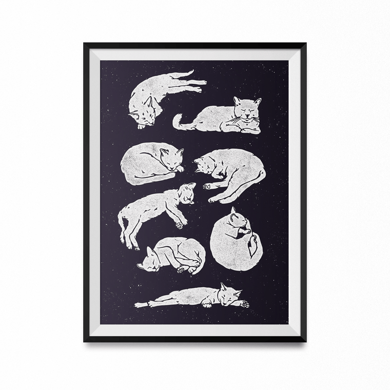 Sleeping Cats Art Print-Curartee