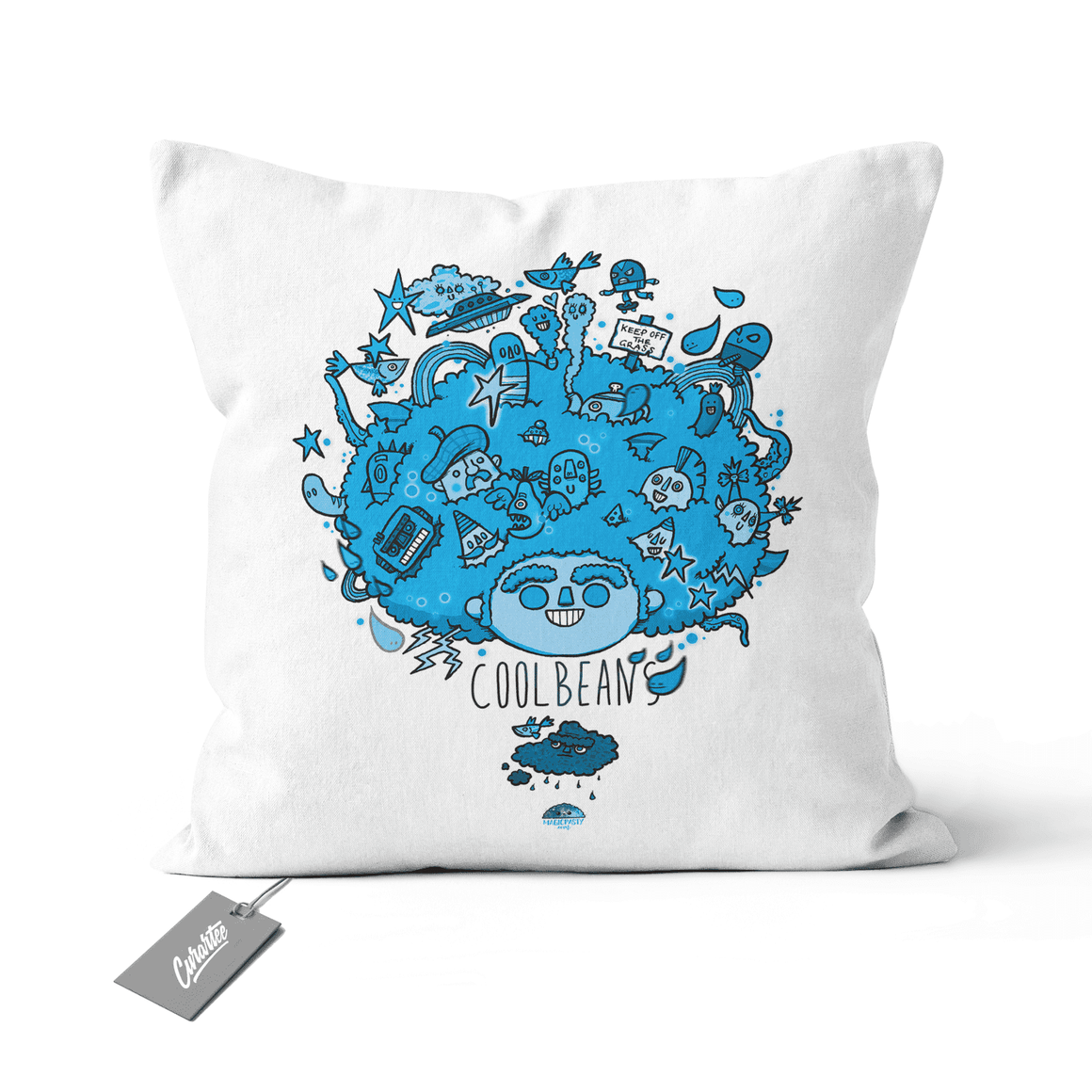 Big Hair Blue Cushion - Premium Artwear Curartee