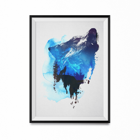 Alone As A Wolf Art Print-Curartee