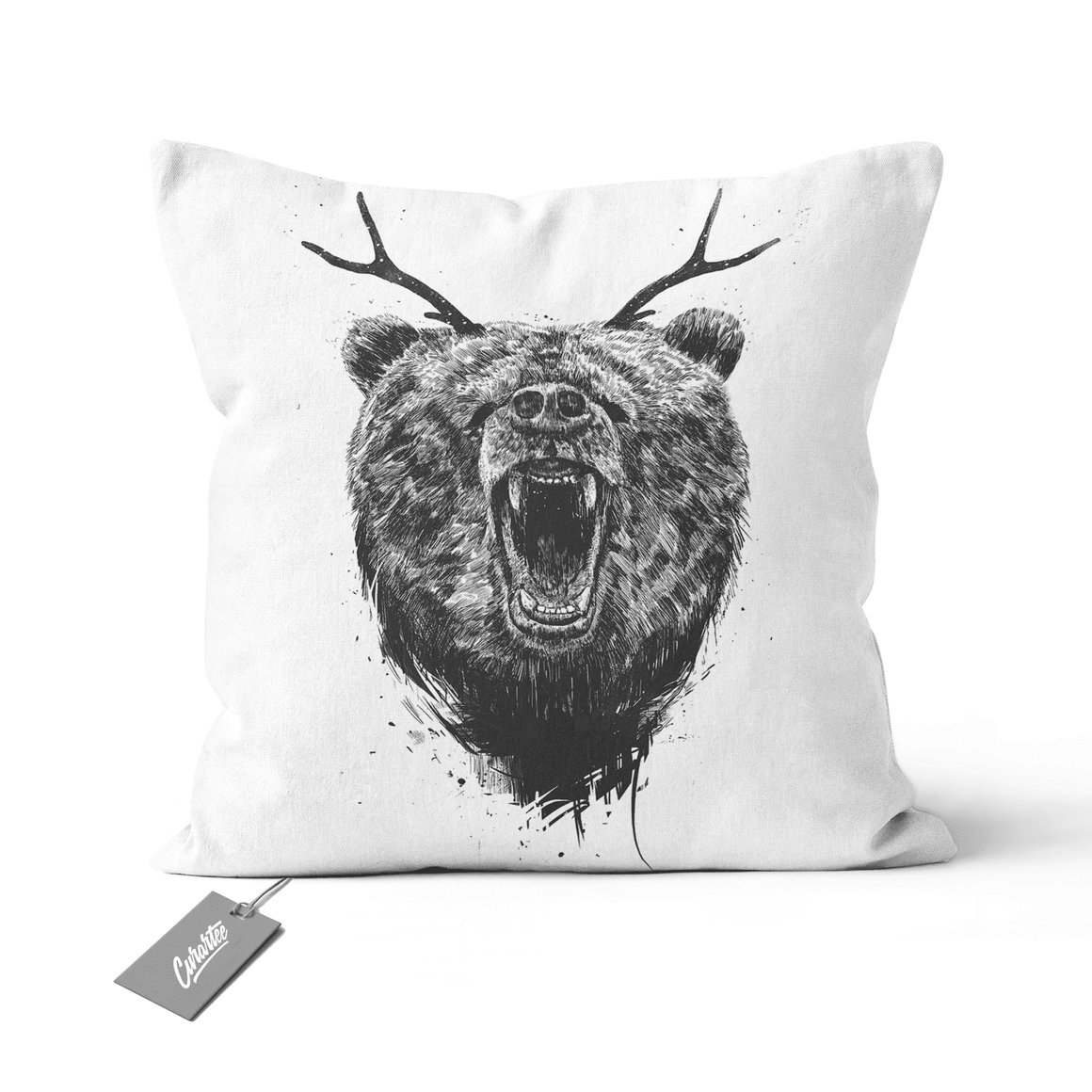 Angry Bear With Antlers Cushion - Premium Artwear Curartee