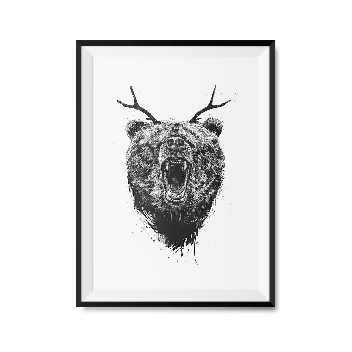 Angry Bear With Antlers Art Print-Curartee