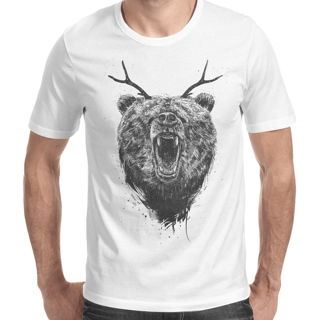 Angry Bear With Antlers Men's T-Shirt-Curartee