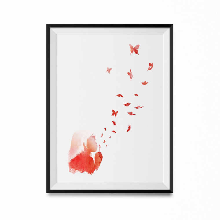 Blowing Butterflies Art Print-Curartee