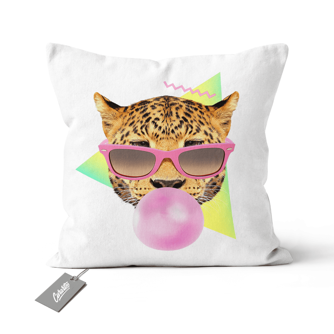 Bubble Gum Leo Cushion - Premium Artwear Curartee