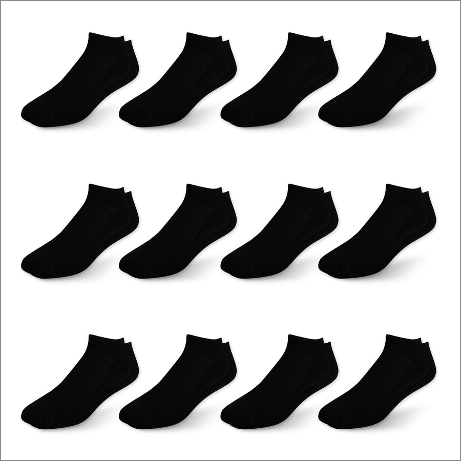 Black Athletic Low Cut Socks - 12 Pack
