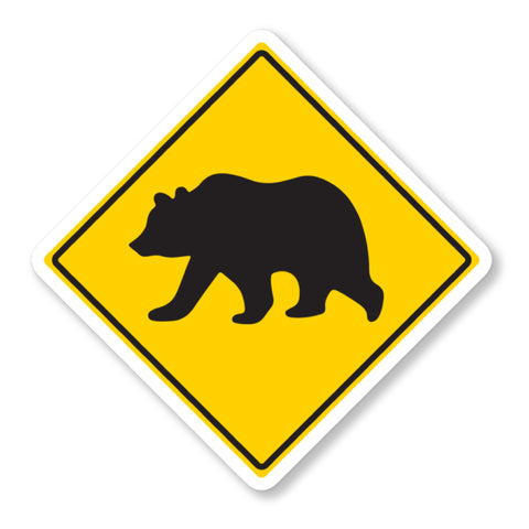 Bear Crossing Vinyl Sticker