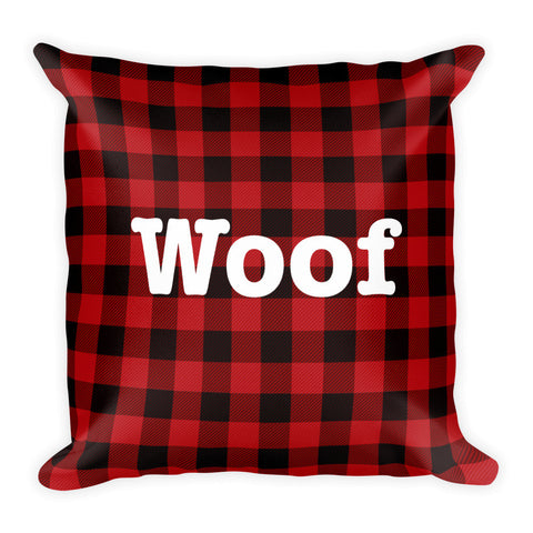 Woof Plaid Pillow