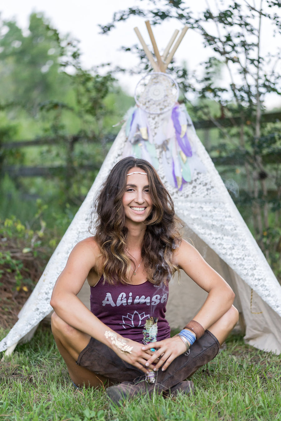 Ahimsa and Lotus Flower Spiritual Women's Tank Top - Inspired by Stephanie Rose