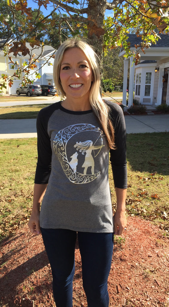 Greek Goddess Artemis Womens Baseball Tee - Inspired by Stephanie Rose