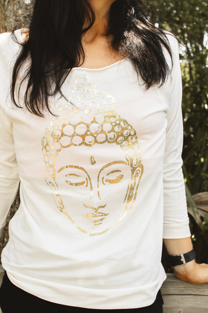 Metallic Buddha 3/4 length French Terry Sweater - Inspired by Stephanie Rose