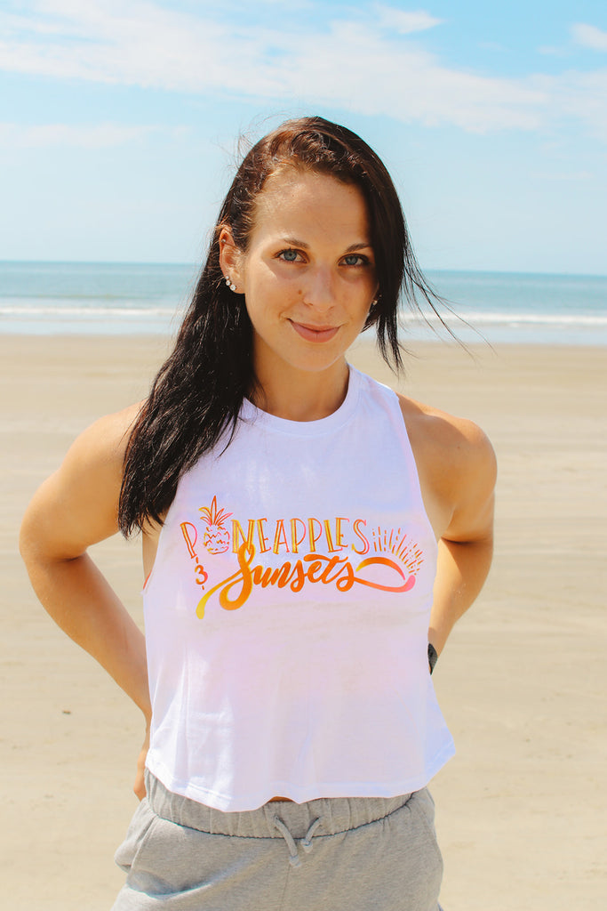 Pineapples and Sunsets Hawaii Inspired Summer Crop Tank - Inspired by Stephanie Rose