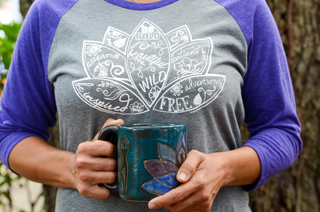 Yoga Themed Stoneware Coffee Mug - Inspired by Stephanie Rose