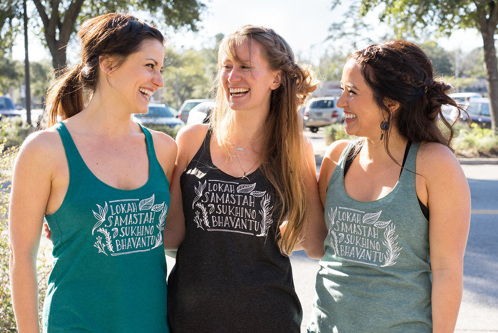 May All Beings Be Happy and Free Slim Fit Yoga Inspired Tank - Inspired by Stephanie Rose