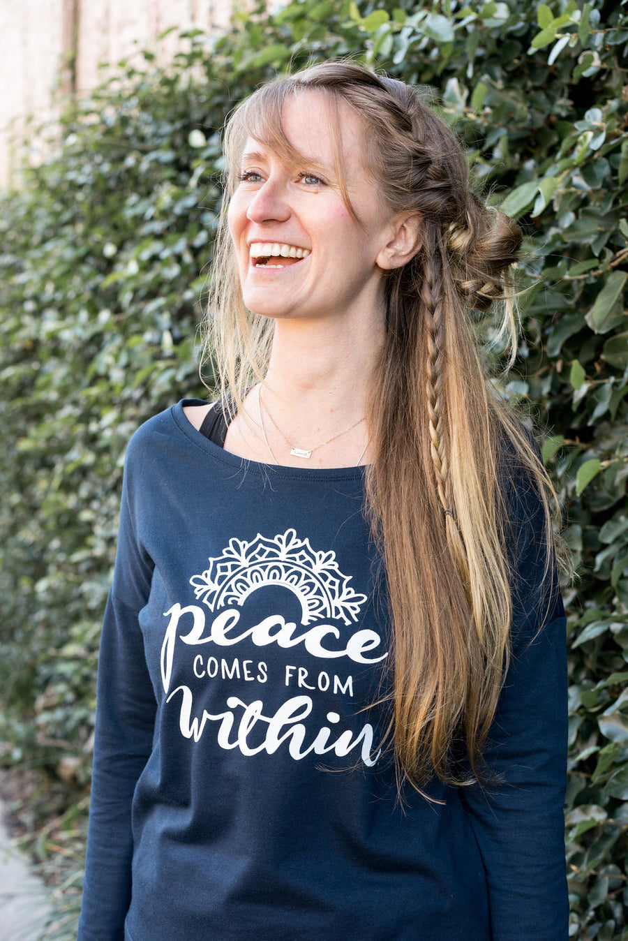 Peace Comes From Within Wide Neck Yoga Sweatshirt - Inspired by Stephanie Rose