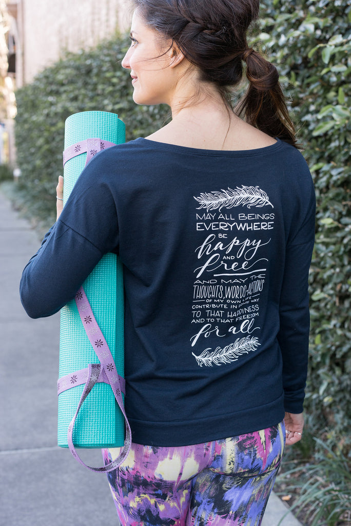 Happy and Free Yoga Wide Neck Sweatshirt - Inspired by Stephanie Rose