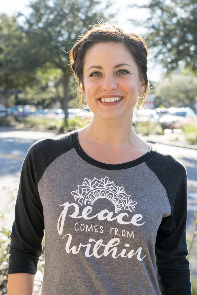 Peace Comes From Within Spiritual Raglan Tee - Inspired by Stephanie Rose