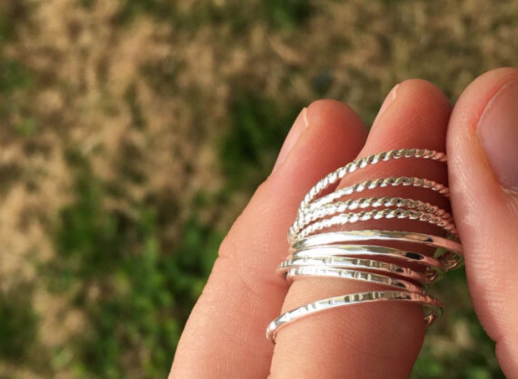 Simple Sterling Silver Stacking Rings - Inspired by Stephanie Rose