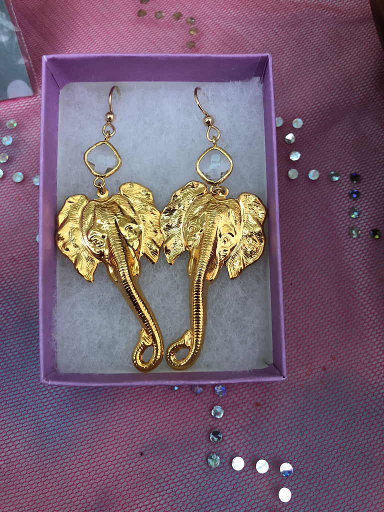 Gold Elephant Earrings - Inspired by Stephanie Rose