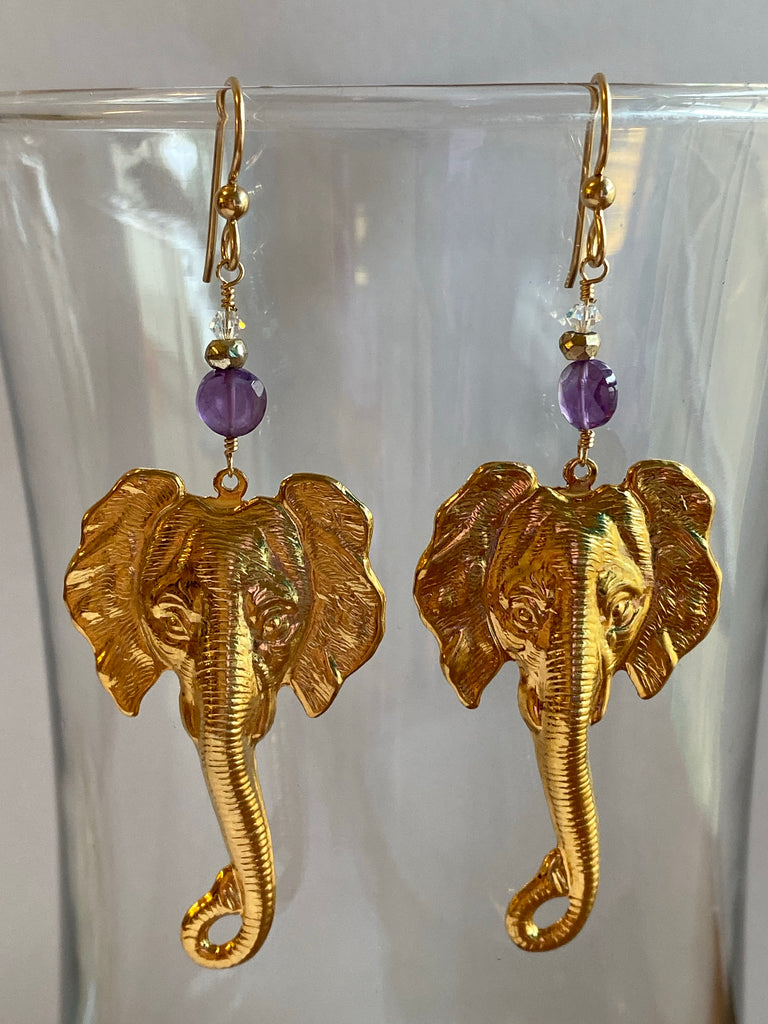 Gold Elephant Earrings with Amethyst gems - Inspired by Stephanie Rose