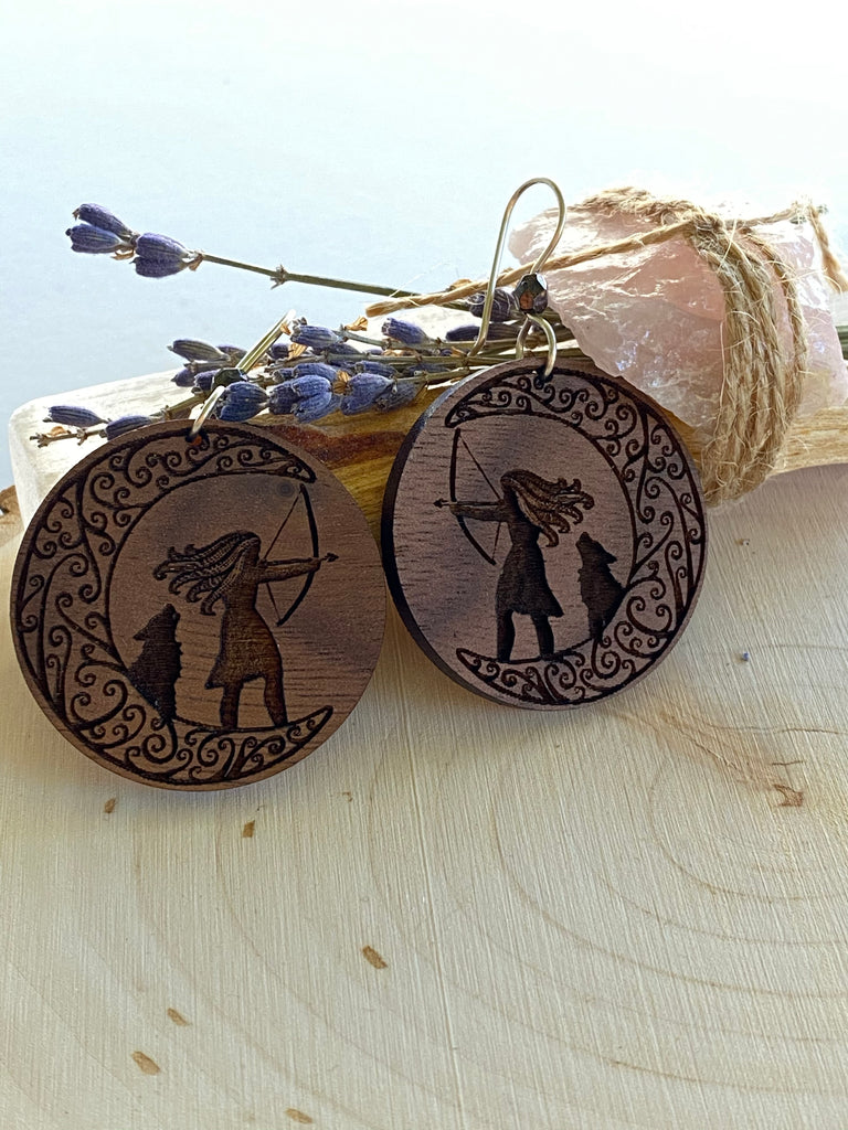 Artemis Goddess Wooden Earrings - Inspired by Stephanie Rose