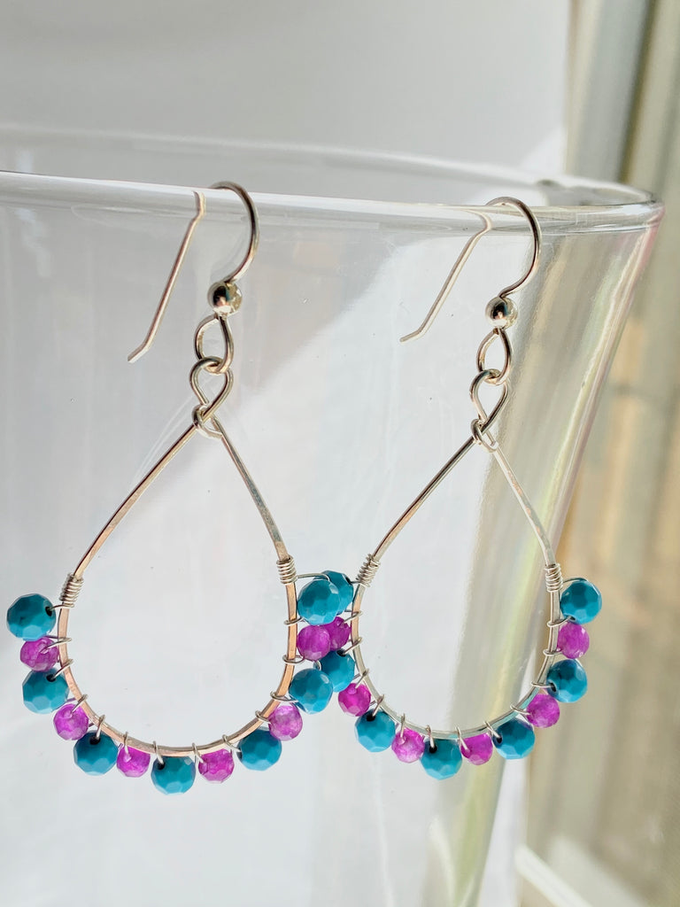 Turquoise and Jasper Wrapped Hoops - Inspired by Stephanie Rose