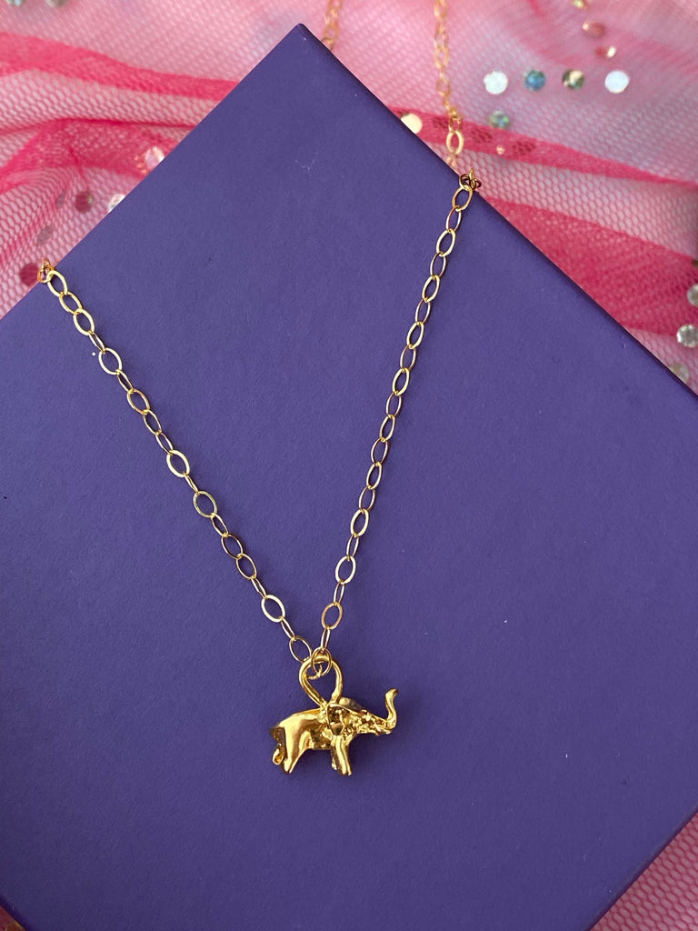 Gold Elephant Charm Necklace - Inspired by Stephanie Rose
