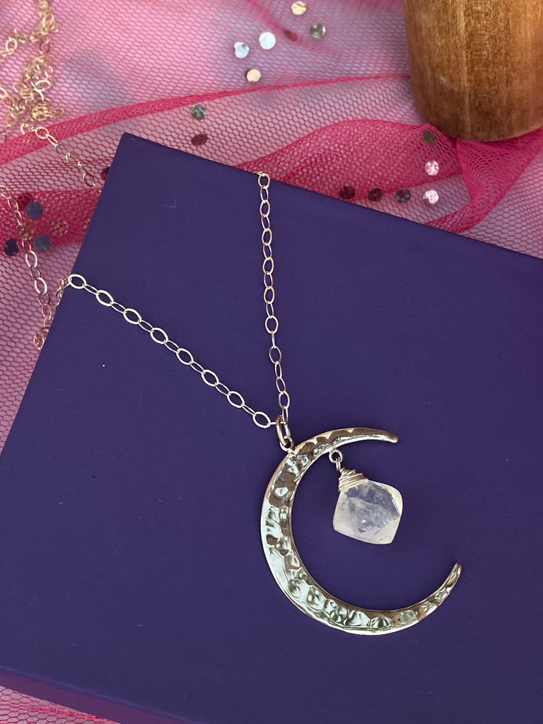 Hammered Moon with Cushion Shaped Moonstone - Inspired by Stephanie Rose