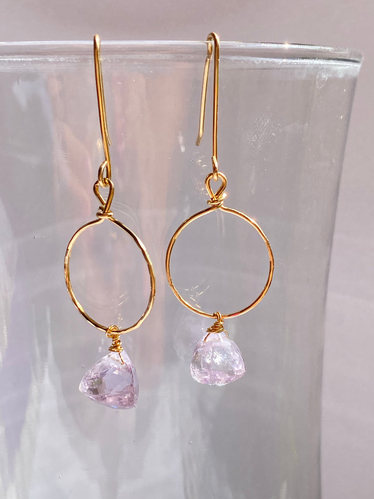 Pink Amethyst Gold Hoops - Inspired by Stephanie Rose